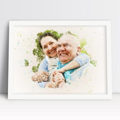 Plakat dla babci i dziadka akwarela ze zdjęcia osobisty prezent dla ukochanych dziadków