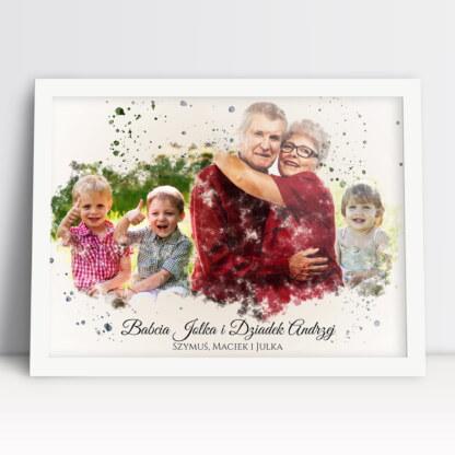 Plakat dla dziadków z dedykacją personalizowany ze zdjęcia akwarela