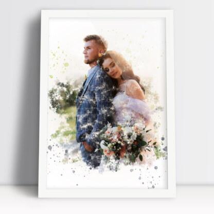 Plakat dla męża i żony portret akwarela ze zdjęcia oprawione w ramę
