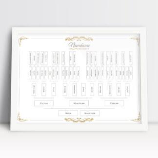 plakat drzewo genealogiczne rozbudowane pięć pokoleń nazwisko i imiona