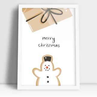 plakat merry christmas z bałwankiem i prezentem świąteczny wystrój
