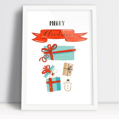 plakat Merry Christmas z świątecznymi motywami bałwanem i prezentami
