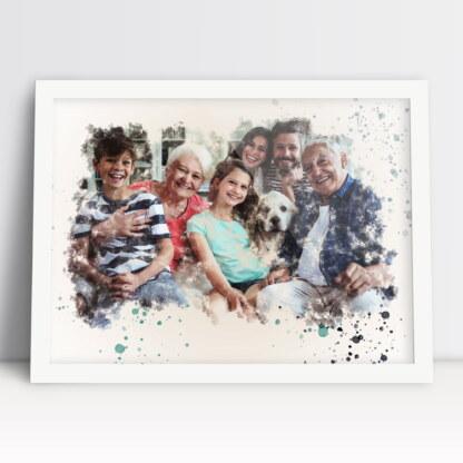 Plakat moja rodzina akwarela ze zdjęcia