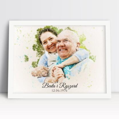 Akwarela ze zdjęcia plakat na rocznicę ślubu z imionami dziadków i datą ślubu