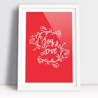 plakat na święta Bożego Narodzenia czerwone tło z napisami joy & love w białej ramie do powieszenia na ścianie