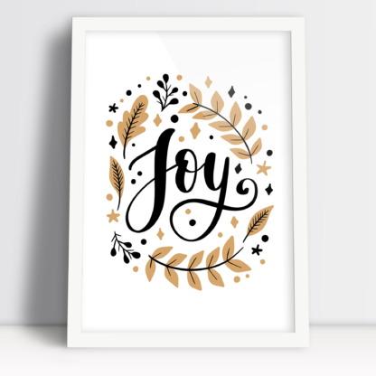 Plakat na święta bożego narodzenia z napisem joy