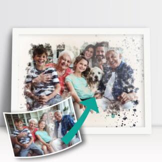 Plakat rodzinny personalizowany akwarela ze zdjęcia prezent