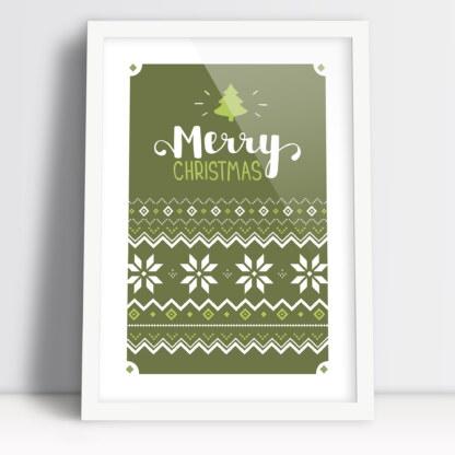 plakat świąteczny Merry Christmas z motywem swetra i choinką zielony