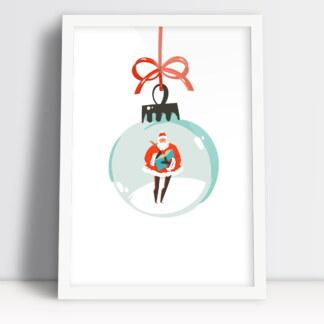 Plakat świąteczny święty Mikołaj w bombce przybranie świątecznego stołu
