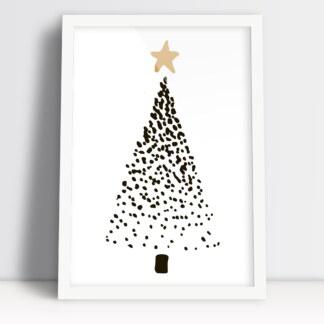 plakat świąteczny z choinką bożonarodzeniową złota gwiazda ozdoba na święta