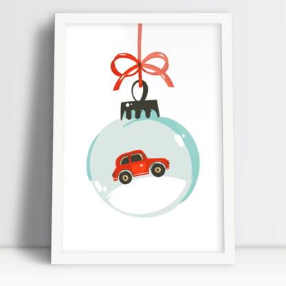 plakat święta Bożego Narodzenia bombka z czerwonym samochodem w ramie