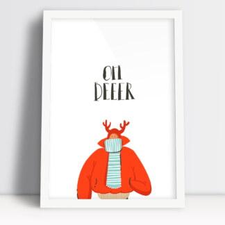 plakat z motywem świątecznego jelenia napis oh deer ozdobnik świąt