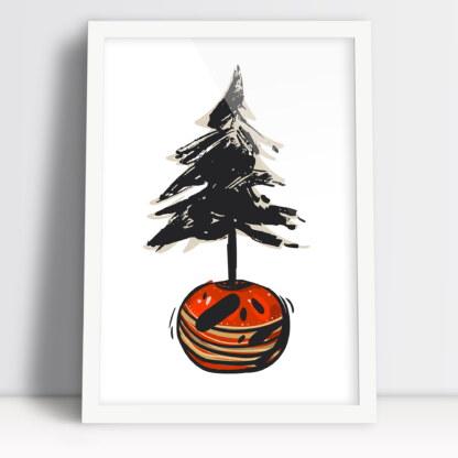 Plakat z świąteczną choinką i bombką poczuj magię tych świąt