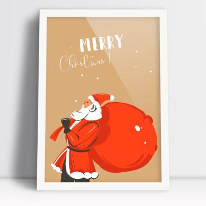 Plakat ze świętym Mikołajem i worem prezentów Merry Christmas