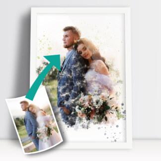 Plakaty dla par portret ze zdjęcia akwarela jako plakat dla zakochanych