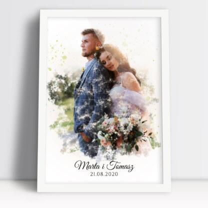 Plakaty dla pary młodej akwarela ze zdjęcia z podpisem imionami i datą ślubu