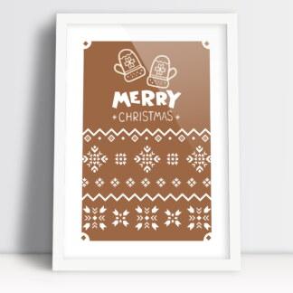 Plakaty świąteczne do salonu i na stół wigilijny Merry Christmas