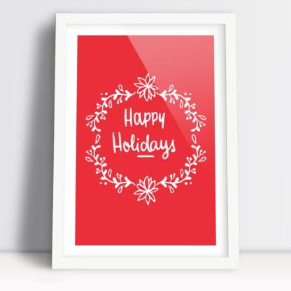 Plakaty świąteczne z napisem Happy Holidays - Wesołych Świąt