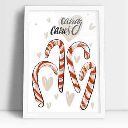 Świąteczne lizaki plakat na święta Bożego Narodzenia