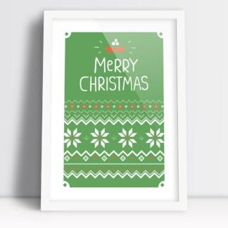 Świąteczne plakaty do druku zielona jodełka Merry Christmas