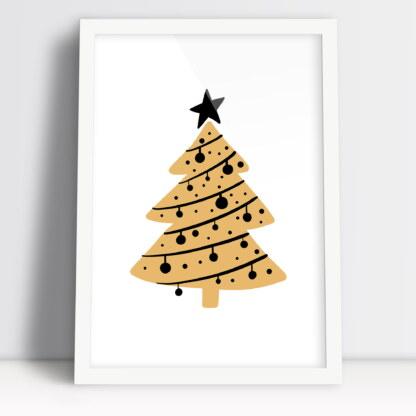 świąteczne plakaty prosta choinka z klimatem Bożego Narodzenia