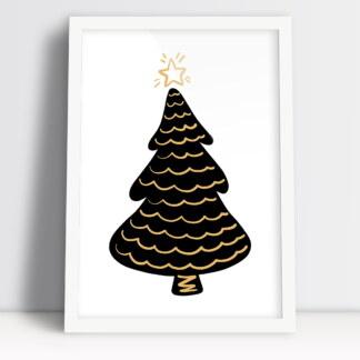 Świąteczne plakaty z motywem choinki i świątecznym klimatem