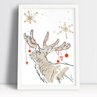 Świąteczny plakat z reniferem i bombkami świąteczna ozdoba salonu