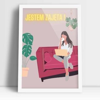 kobiecy kolorowy plakat do biura jestem zajęta