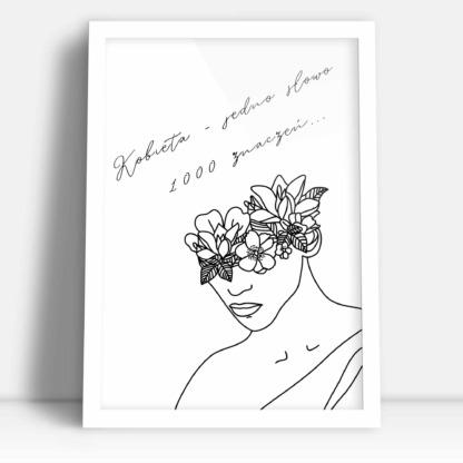 ozdoba prezent dla kobiet plakat z napisem kobieta jedno słowo 1000 znaczeń