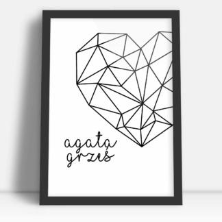 Plakat dla nowożeńców na prezent ślubny geometryczna miłość z imionami
