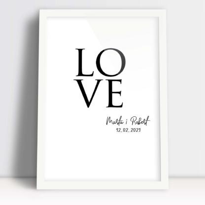 Plakat dla pary młodej i małżeństwa na rocznicę z napisem love z imionami zakochanych i ważną datą