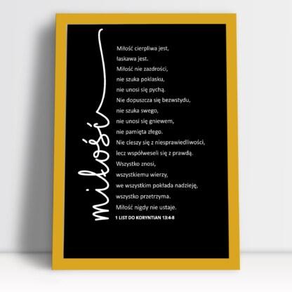 Plakat dla pary młodej miłość list do Koryntian czarny rama złota