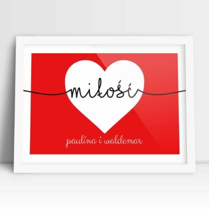 plakat dla pary z napisem miłość, sercem i imionami zakochanych na ślub i rocznicę