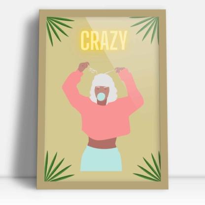 Plakat kobiety szalona dziewczyna z napisem crazy ramka złota