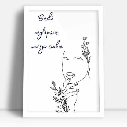 plakat kobiety z kwiatami na prezent dla przyjaciółki