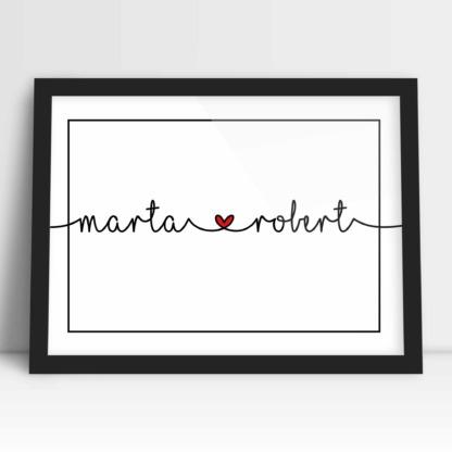 plakaty dla małżeństwa na rocznicę ślubu i prezent ślubny imiona