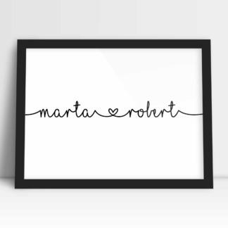 plakaty dla par personalizowane z imionami połączonymi sercem na walentynki i prezent ślubny