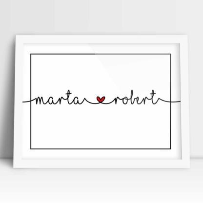 plakaty dla zakochanych oprawione w ramę prezent na ślub i rocznicę
