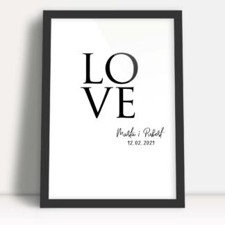 Plakaty dla zakochanych ozdoba sypialni love imiona i ważna dla związku data