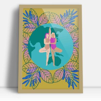 prezent dla przyjaciółki plakat z dwoma kobietami splecione dziewczyny