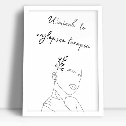 prezent urodzinowy dla kobiety plakat ozdobny z sylwetką kobiety i kwiatami