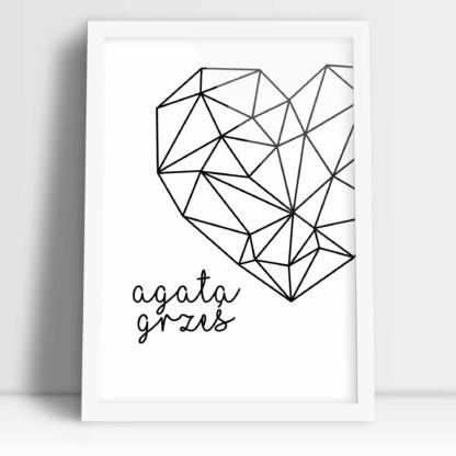 Wymarzony prezent ślubny plakat personalizowany geometryczne serce z imionami nowożeńców