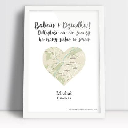 personalizowany plakat dla Babci i Dziadka droga do serca od wnuczka wraz z mapą zamieszkania