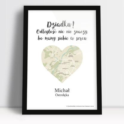 personalizowany plakat dla Dziadka droga do serca mapa z miejscem zamieszkania wnuczka