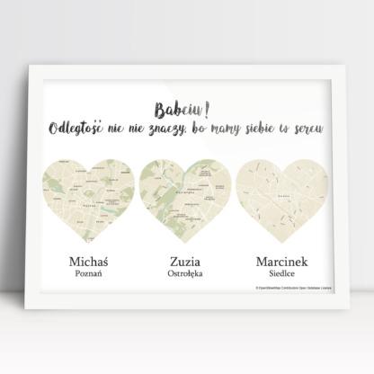 plakat dla Babci personalizowany trzy serca imiona wnuczków i mapy zamieszkania na prezent