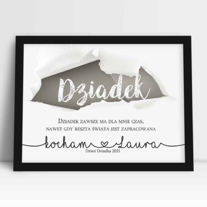 plakat dla dziadka z dedykacją i życzeniami na dzień dziadka