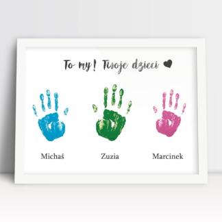 plakat dla mamy i taty w prezencie dla rodziców imiona i rączki dzieci