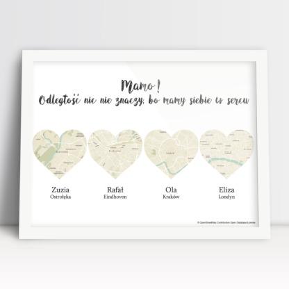 Plakat idealny na prezent na urodziny dla mamy mapy w sercach od dzieci