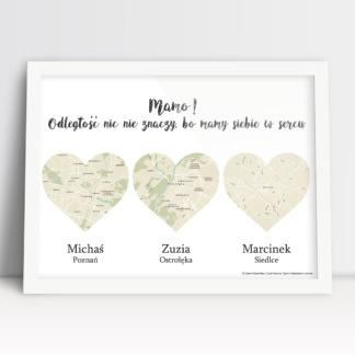 Plakat na urodziny dla mamy z mapami zamieszkania dzieci w sercach