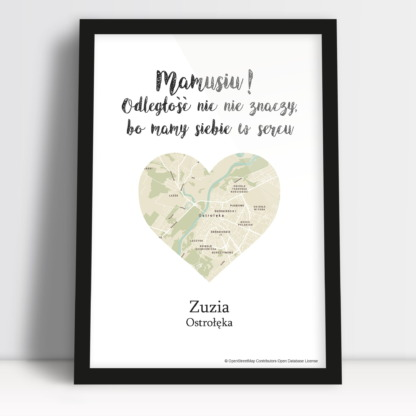 plakat sercem dla mamy i mapą w sercu od dziecka